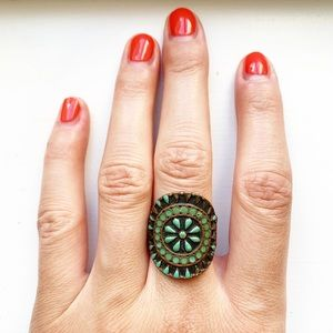 Vintage copper & turquoise bead shield ring